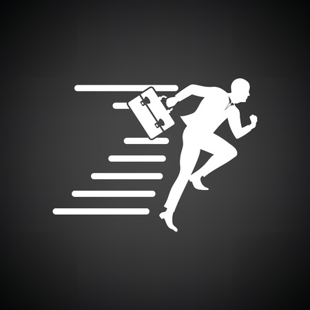 accelerating: Accelerating businessman icon. Black background with white. Vector illustration.