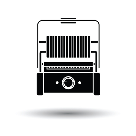open sandwich: Kitchen electric grill icon. White background with shadow design. Vector illustration.