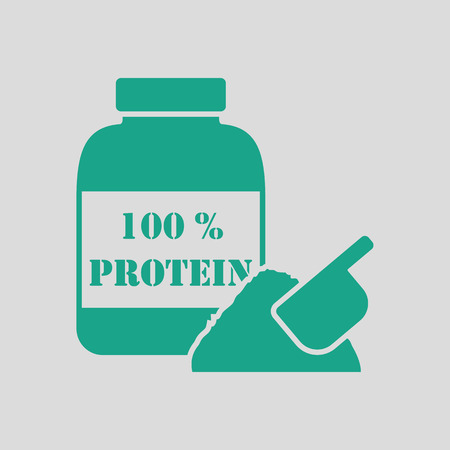 gainer: Protein container icon. Gray background with green. Vector illustration.