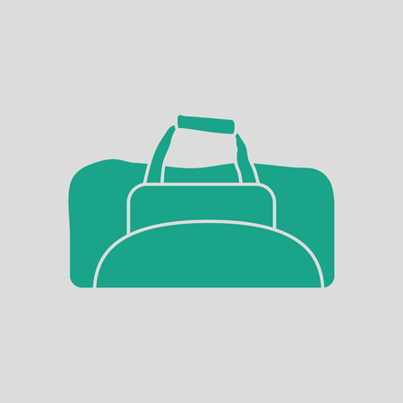duffel: Fitness bag icon. Gray background with green. Vector illustration.