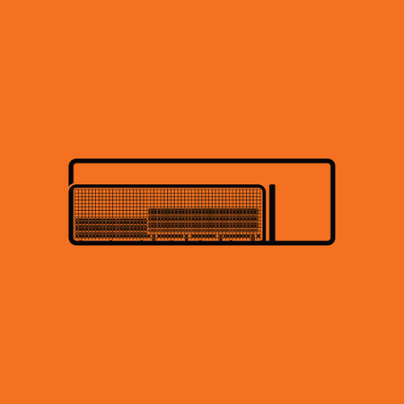 dugout: Baseball reserve bench icon. Orange background with black. Vector illustration.