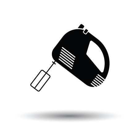 Kitchen hand mixer icon. White background with shadow design. Vector illustration.