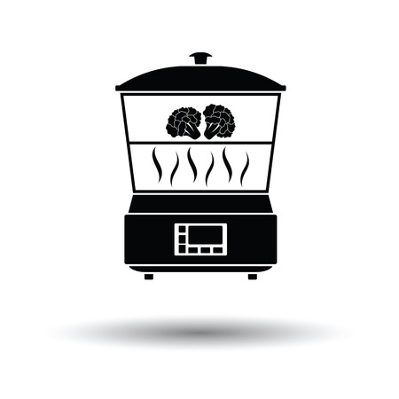steam cooker: Kitchen steam cooker icon. White background with shadow design. Vector illustration.