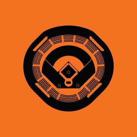 ballpark: Baseball stadium icon. Orange background with black. Vector illustration.