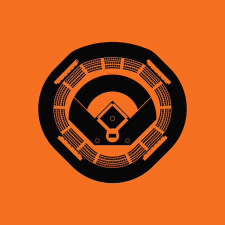 Baseball stadium icon. Orange background with black. Vector illustration.