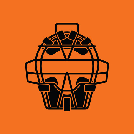 the protector: Baseball face protector icon. Orange background with black. Vector illustration.