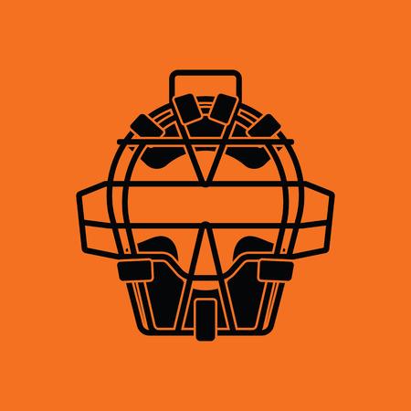 umpire: Baseball face protector icon. Orange background with black. Vector illustration.