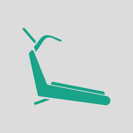 gym room: Treadmill icon. Gray background with green. Vector illustration.