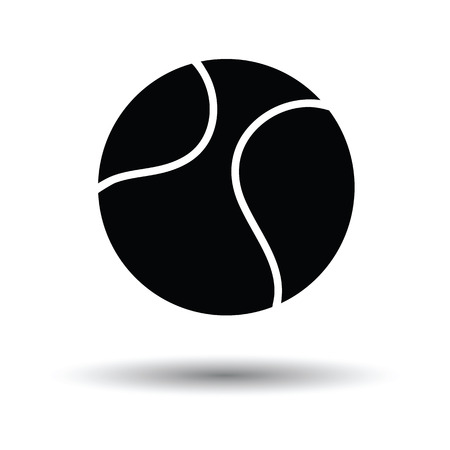 bounce: Tennis ball icon. White background with shadow design. Vector illustration.