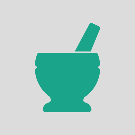 chinaware: Mortar and pestle icon. Gray background with green. Vector illustration. Illustration