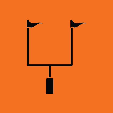goal post': American football goal post icon. Orange background with black. Vector illustration.