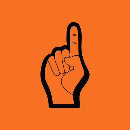 raise hand: American football foam finger icon. Orange background with black. Vector illustration.