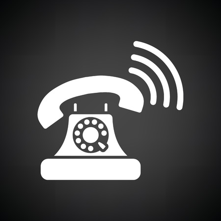 old telephone: Old telephone icon. Black background with white. Vector illustration.