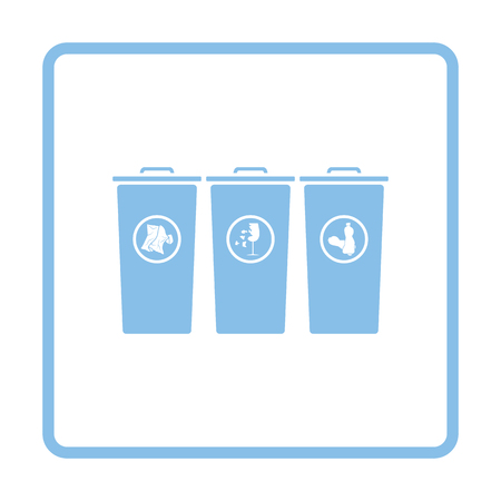 segregate: Garbage containers with separated trash icon. Blue frame design. Vector illustration.
