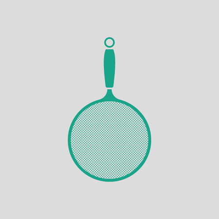 colander: Kitchen colander icon. Gray background with green. Vector illustration. Illustration