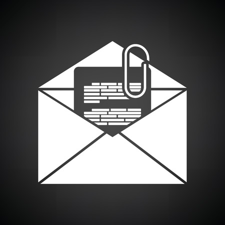 attachment: Mail with attachment icon. Black background with white. Vector illustration.