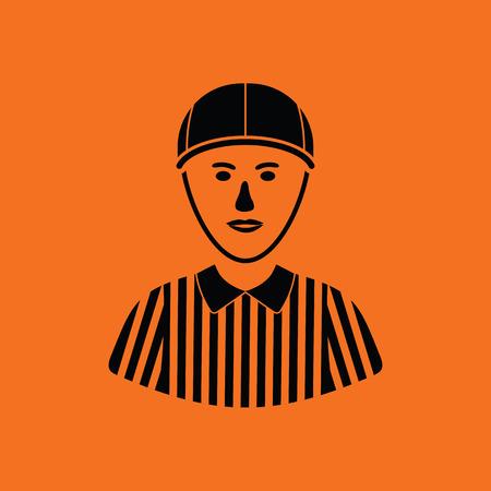 black american: American football referee icon. Orange background with black. Vector illustration. Illustration