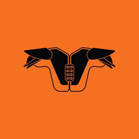 American football chest protection icon. Orange background with black. Vector illustration.