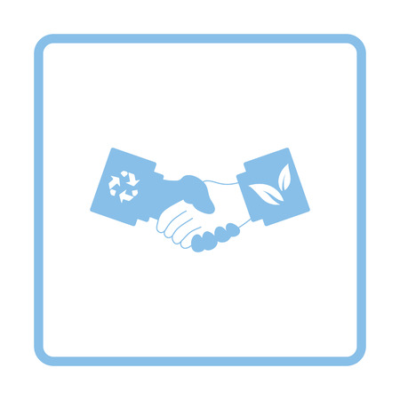 handshakes: Ecological handshakes icon. Blue frame design. Vector illustration.