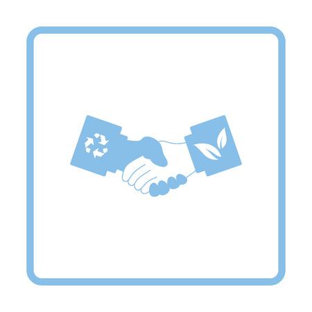 manos estrechadas: icono de apretones de manos ecológica. Diseño del marco azul. Ilustración del vector. Vectores