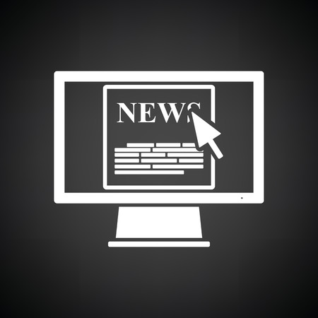 news flash: Monitor with news icon. Black background with white. Vector illustration.