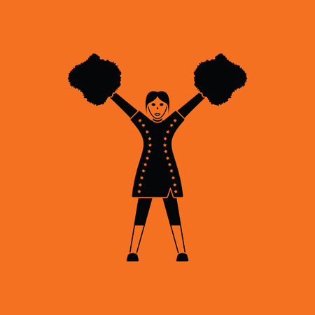 American football cheerleader girl icon. Orange background with black. Vector illustration.