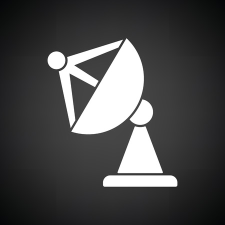 microwave antenna: Satellite antenna icon. Black background with white. Vector illustration. Illustration