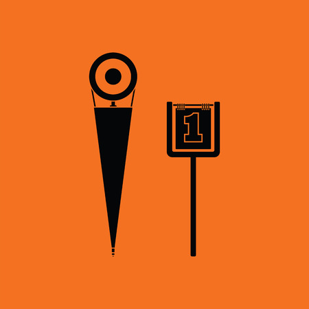 American football sideline markers icon. Orange background with black. Vector illustration. Illustration