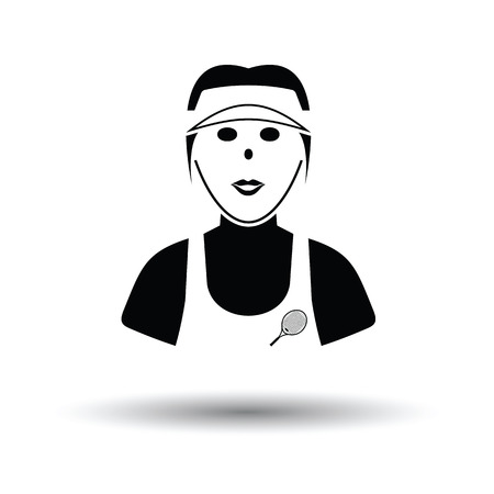 Tennis woman athlete head icon. White background with shadow design. Vector illustration. Illustration