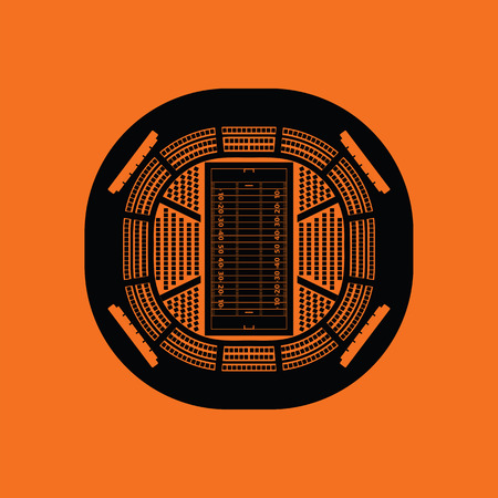American football stadium birds-eye view icon. Orange background with black. Vector illustration.
