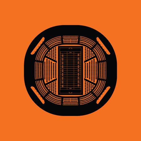 rou: American football stadium birds-eye view icon. Orange background with black. Vector illustration.