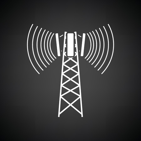 cellular: Cellular broadcasting antenna icon. Black background with white. Vector illustration. Illustration