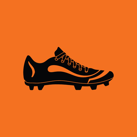 American football boot icon. Orange background with black. Vector illustration.