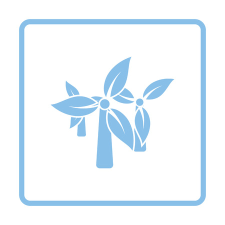 wind power: Wind mill leaves in blades icon. Blue frame design. Vector illustration.