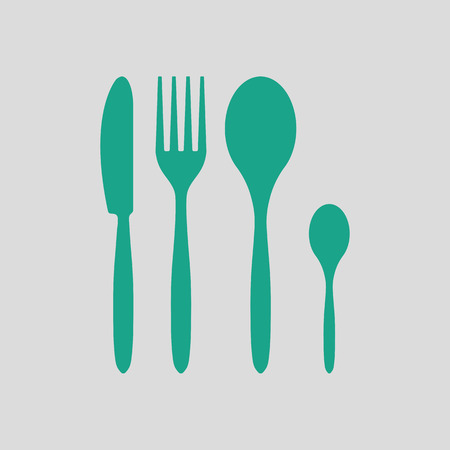 Silverware set icon. Gray background with green. Vector illustration.