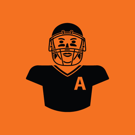 quarterback: American football player icon. Orange background with black. Vector illustration.