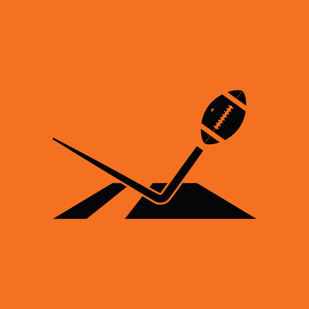 American football touchdown icon. Orange background with black. Vector illustration.