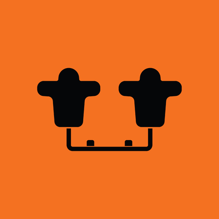 tackling: American football  tackling sled icon. Orange background with black. Vector illustration.
