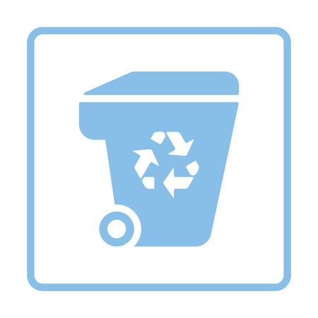 garbage container: Garbage container recycle sign icon. Blue frame design. Vector illustration.