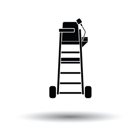 umpire: Tennis referee chair tower icon. White background with shadow design. Vector illustration.