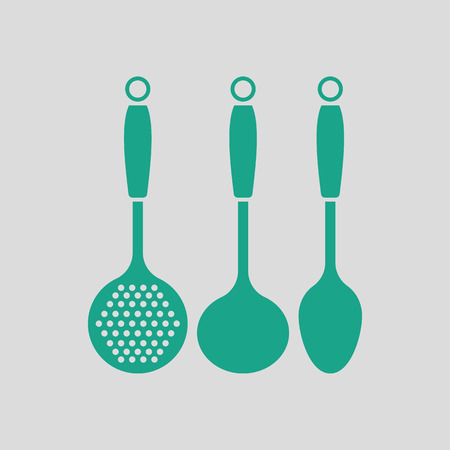 masher: Ladle set icon. Gray background with green. Vector illustration.
