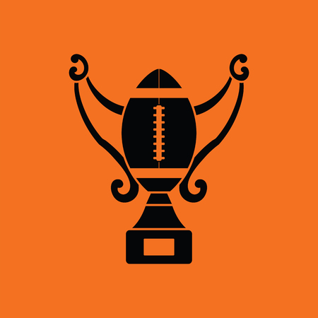 football trophy: American football trophy cup icon. Orange background with black. Vector illustration.