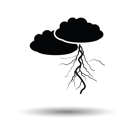 Clouds and lightning icon. White background with shadow design. Vector illustration.