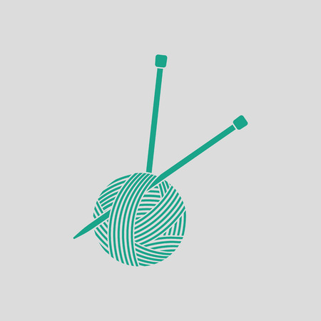 knitting needles: Yarn ball with knitting needles icon. Gray background with green. Vector illustration. Illustration
