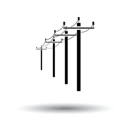 utility pole: High voltage line icon. White background with shadow design. Vector illustration.