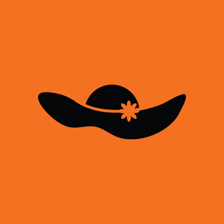 personal accessories: Elegant woman hat icon. Orange background with black. Vector illustration.