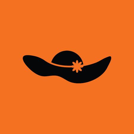 chapeau de paille: icône élégant chapeau de femme. fond orange avec le noir. Vector illustration.