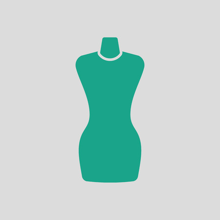 textile industry: Tailor mannequin icon. Gray background with green. Vector illustration.