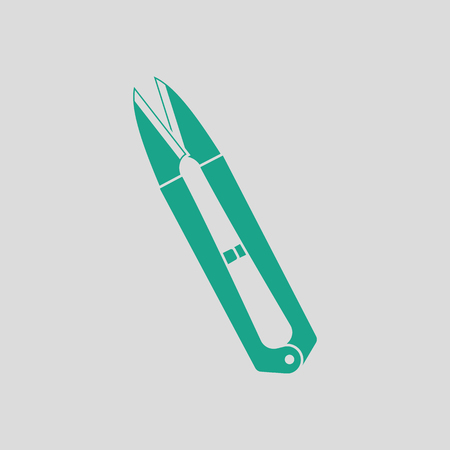 Seam ripper icon. Gray background with green. Vector illustration.