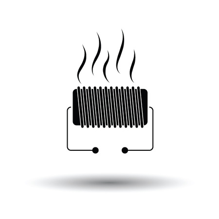 single coil: Electrical heater icon. White background with shadow design. Vector illustration.